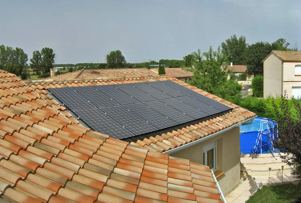 Solar Panel on Roof in Southern France
