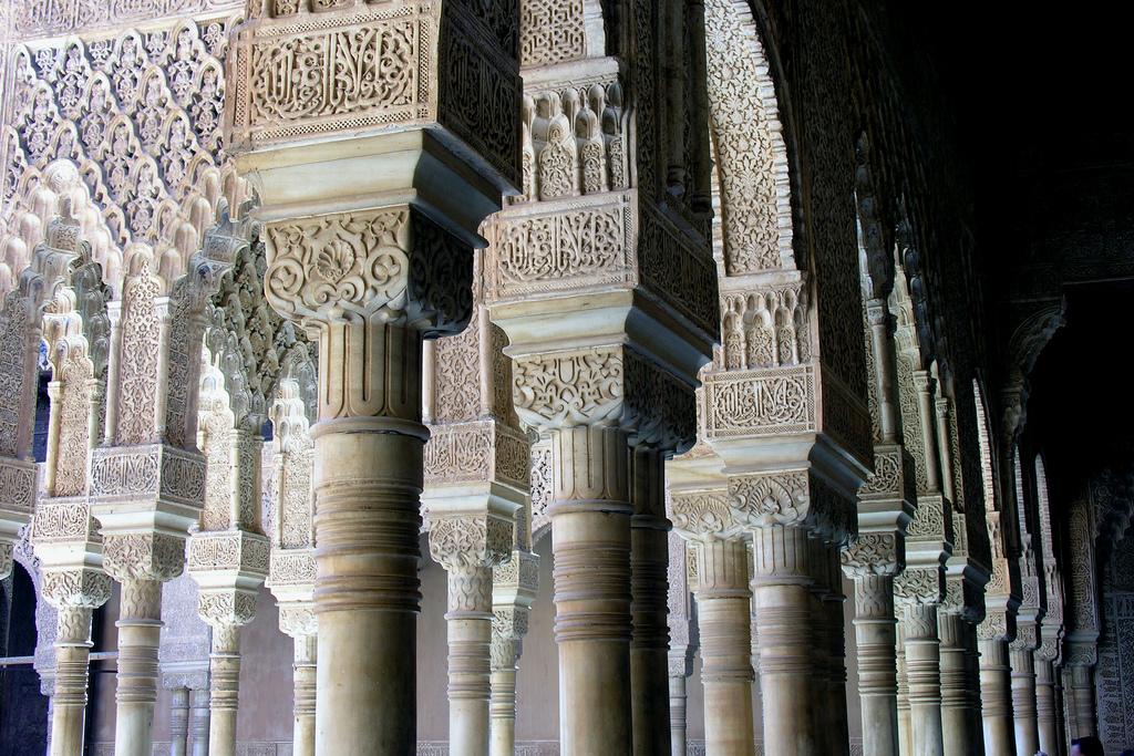 Alhambra column detail from Plaza de Leones, Granada, Spain.