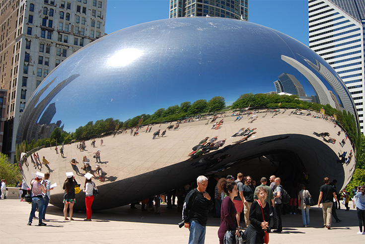 Cloud Gate is a sculpture in the heart of downtown Chicago, Illinois.