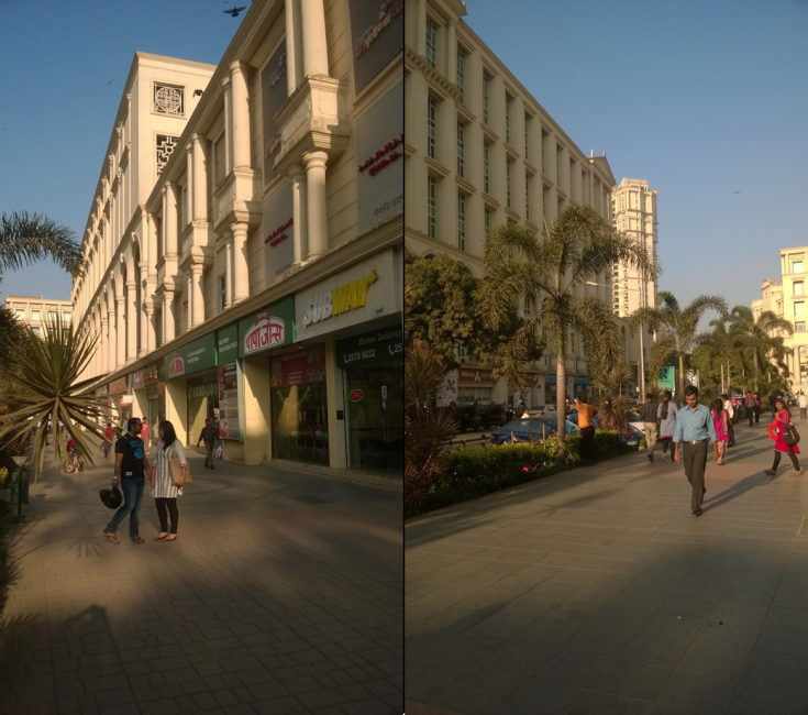 Powai, India street-view on both sides of the road taken from one vantage point