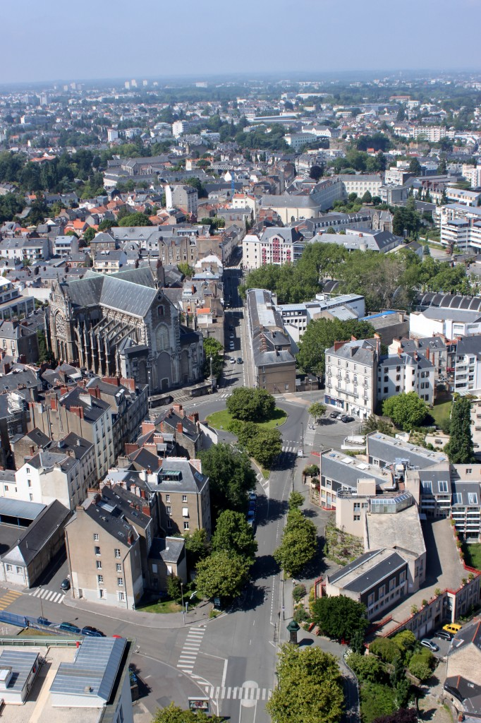 Central Nantes, France Streets as seen from Above