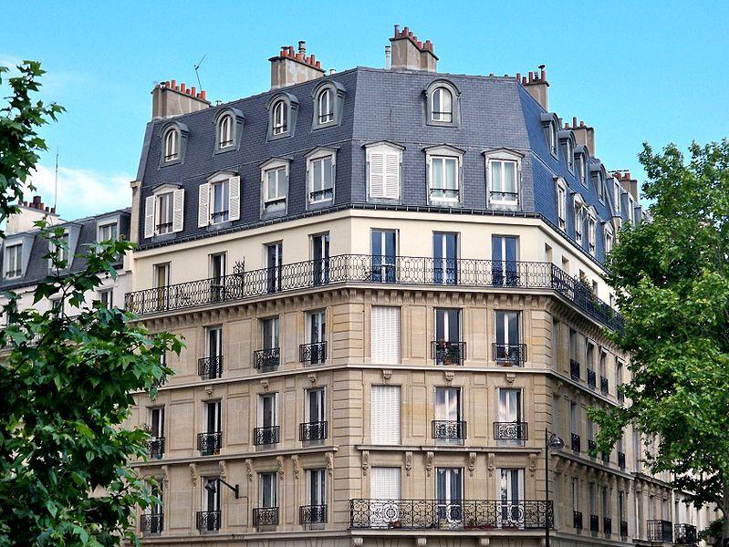 Typical Haussmannian Apartment Building in Paris, France