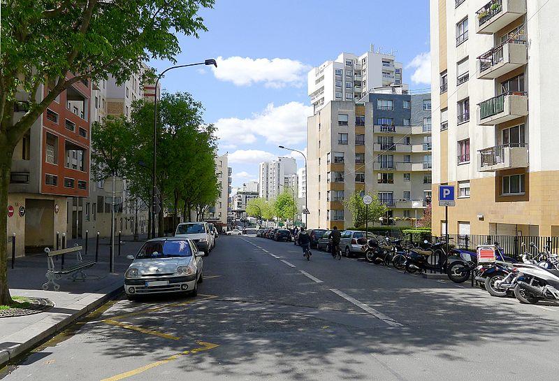 Paris 20th District, Rue des Orteaux Greenery, France