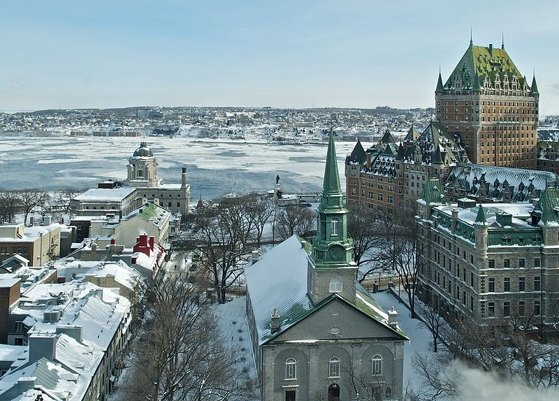 City of Quebec, Canada in Winter from Above