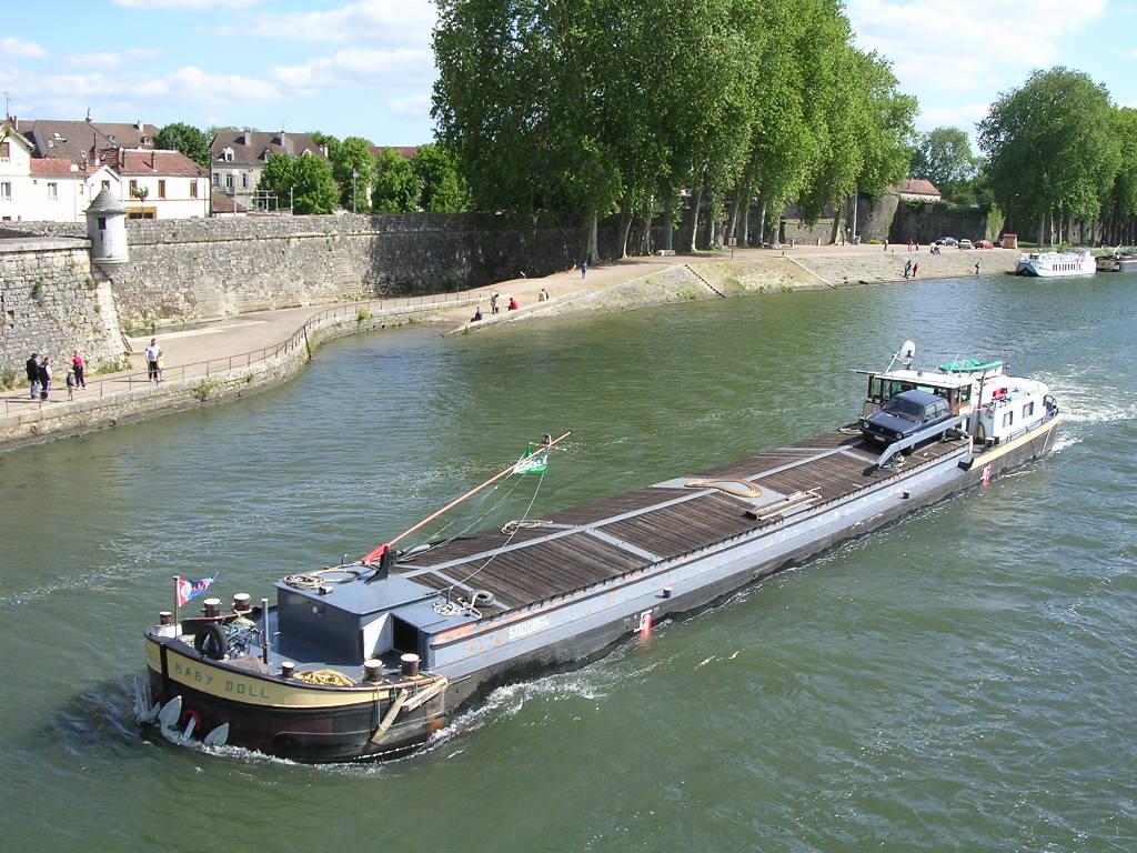 Barge on Saône River, Auxonne, France
