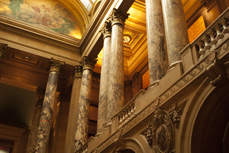 An image of the view from an interior stairwell within the Minnesota State Capitol Building.