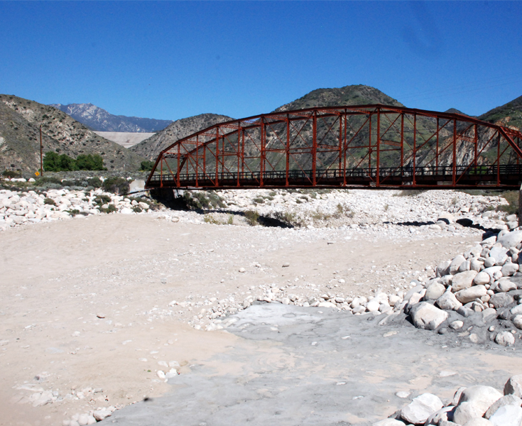 Dry headwaters of Santa Ana River in Highland, CA