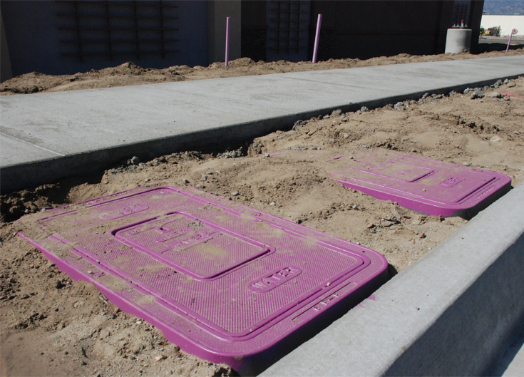 Recycle water valve boxes in new development in Redlands, CA