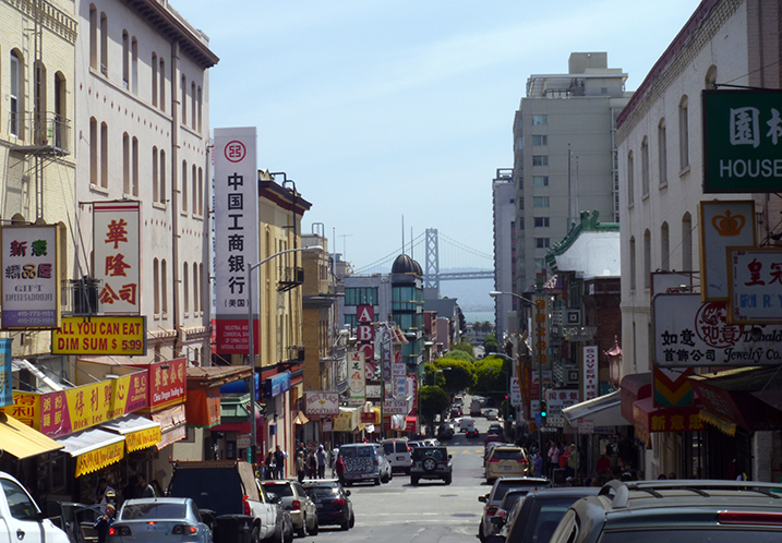 View of San Francisco's Bay Bridge from Chinatown