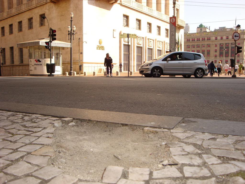 Broken sidewalk tiles in São Paulo