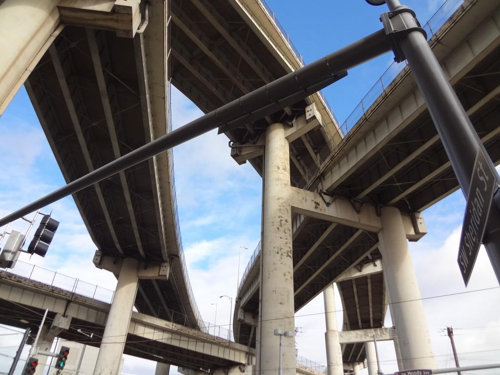 Highway overpass infrastructure, Portland, Oregon