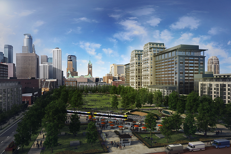 """Ryan Cos. rendering of the green space in the center of the Minneapolis """"Downtown East"""" project. This rendering is facing away from the future Vikings Stadium."""