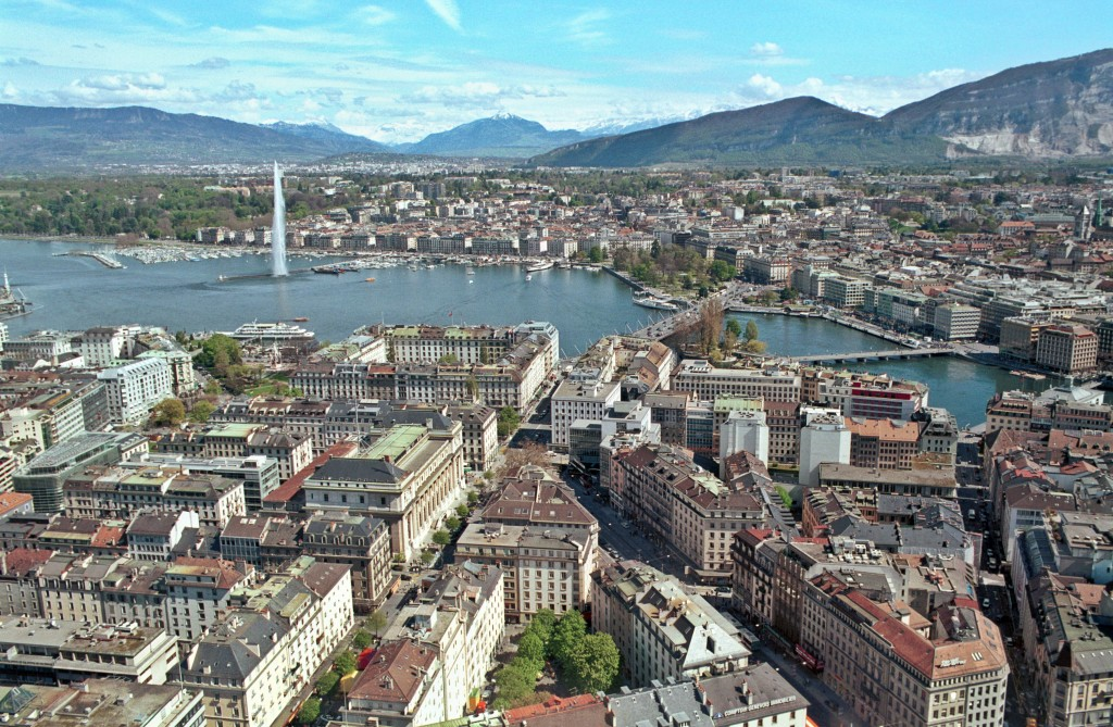 Aerial View of Geneva Harbor, Geneva, Switzerland