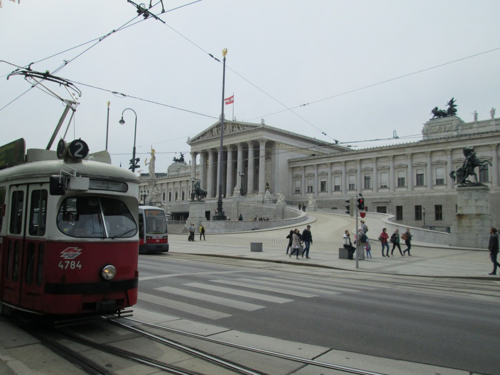 The Austrian Parliament seen from the Vienna Ringstrasse, Vienna, Austria