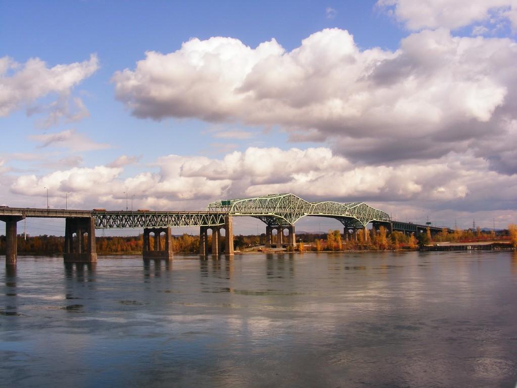 View of Pont Champlain bridge, Montreal, Canada