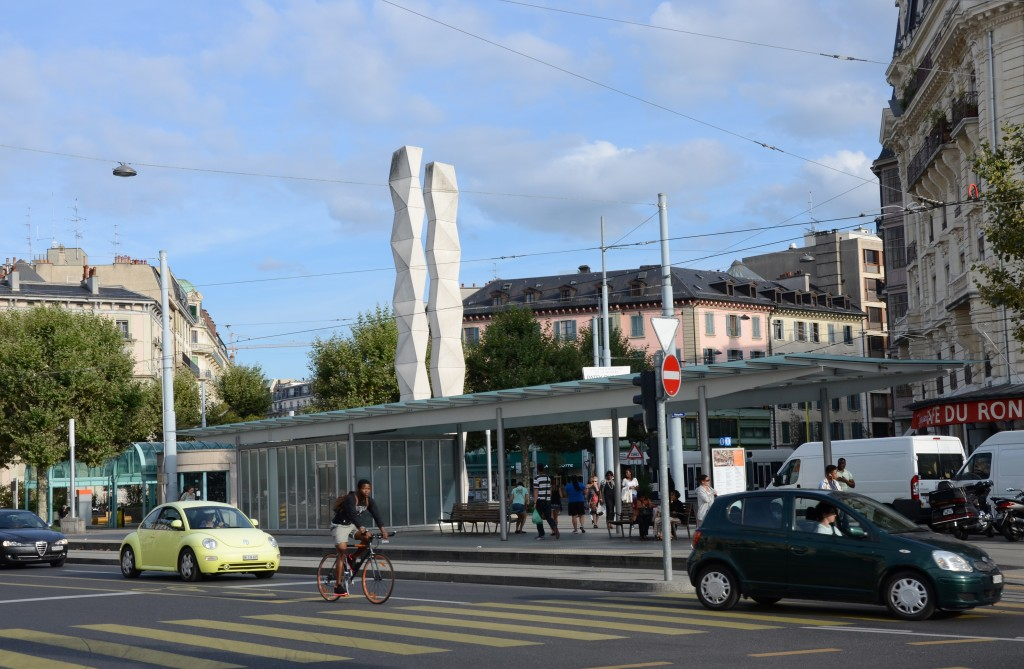 Street Traffic at Plainpalais Roundabout, Geneva, Switzerland