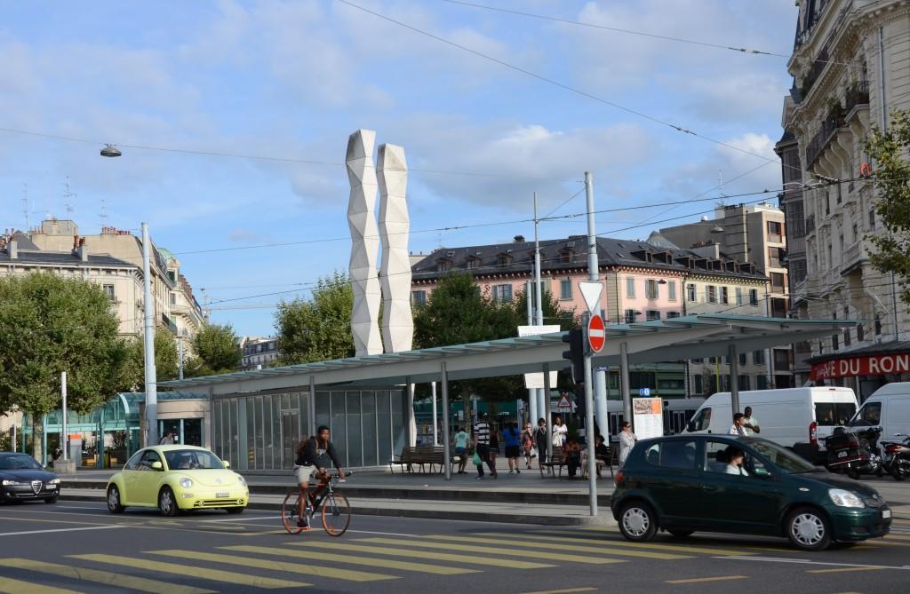 Street Traffic at Plainpalais Roundabout, Geneva, Switzerland