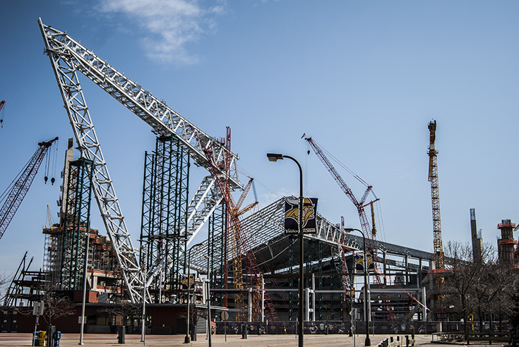 The Minnesota Vikings Stadium, under construction. The massive building has now surpassed the 50% completion mark.