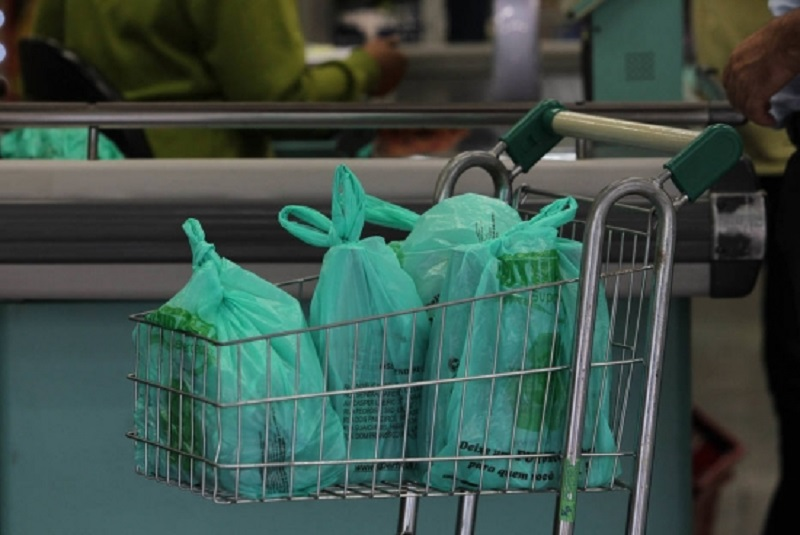 The new green bags in use