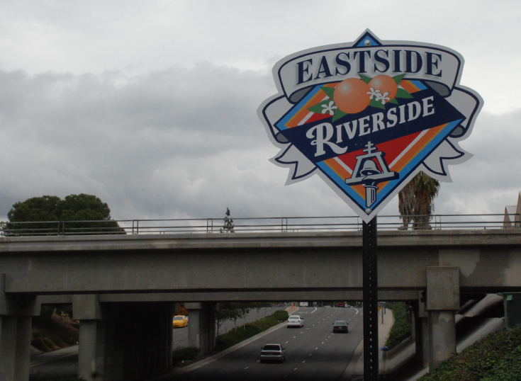 Sign indicating to drivers along 14th Street in Riverside that they are entering the Eastside neighborhood.