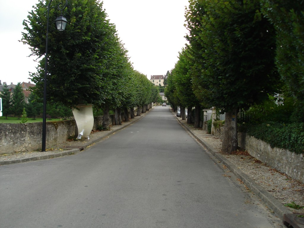 Rue du Pont in Lurais, France shows low, stone walls between plots of land