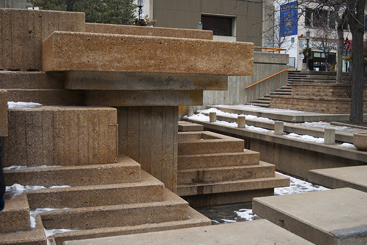 Water used to pour over this section of Peavey Plaza, now it remains lifeless.