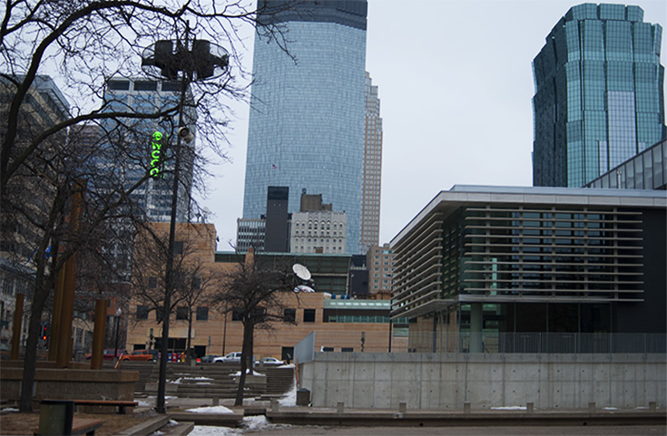 Within Peavey Plaza, looking towards some of the tallest skyscrapers in Minneapolis, Minnesota.