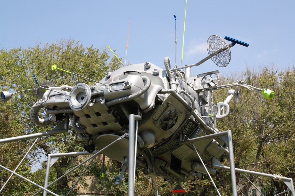 Recycled spacecraft art installation, sculpture