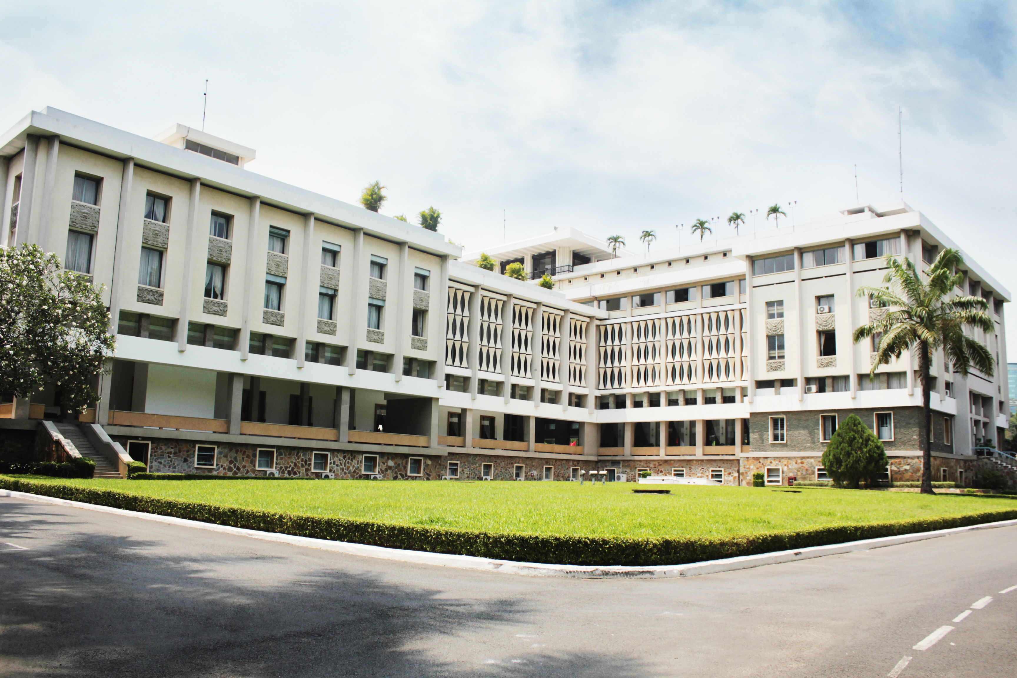 Rear courtyard of HCMC's Independence Palace, Vietnam.