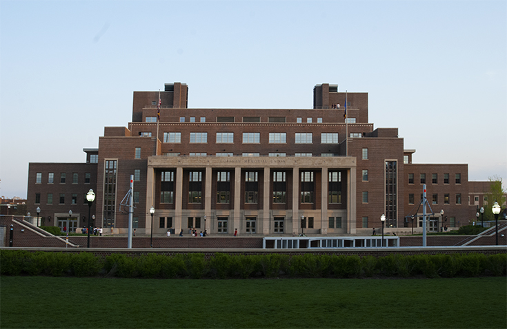 Coffman Memorial Union, located at one end of the Northrup Mall on the University of Minnesota - Twin Cities Campus.