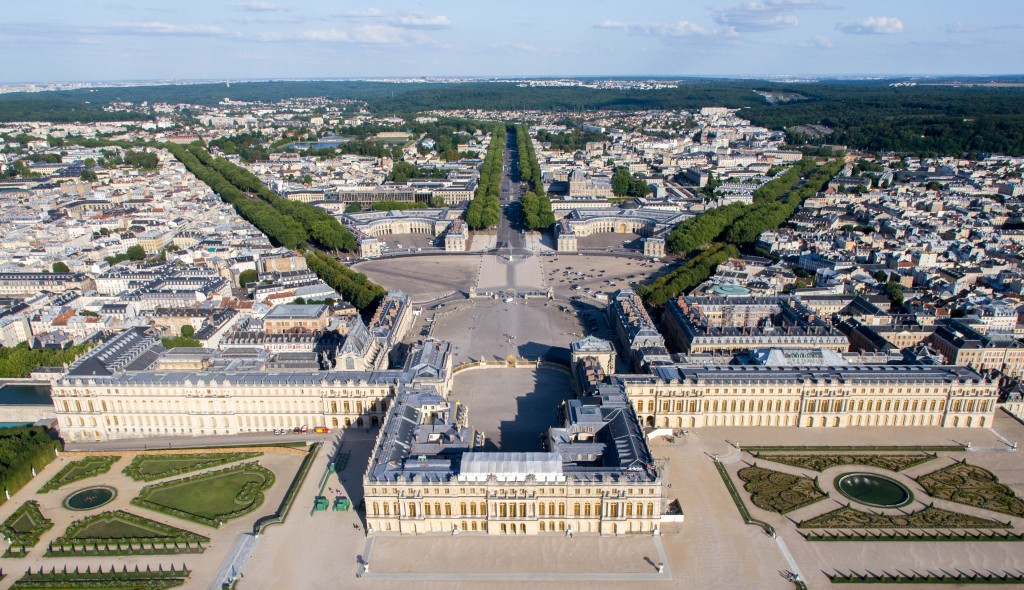 Aerial View of Versailles, France including Palace