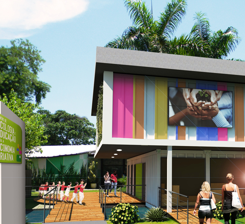 Rendering of the educational center, Rio de Janeiro, Brazil, Center for Ecology and Education for a Creative Economy