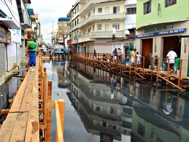 Flooding on Rua dos Barés, Manaus, Brazil