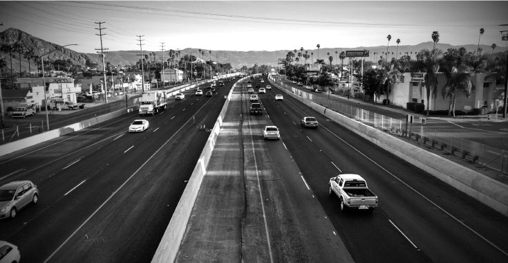 Interstate 215 looking northbound from the Center St. overcrossing, Riverside CA