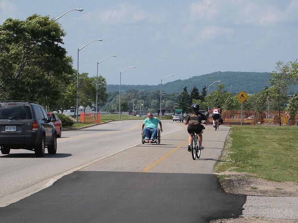 Riding Wheelchair in opposite direction of traffic