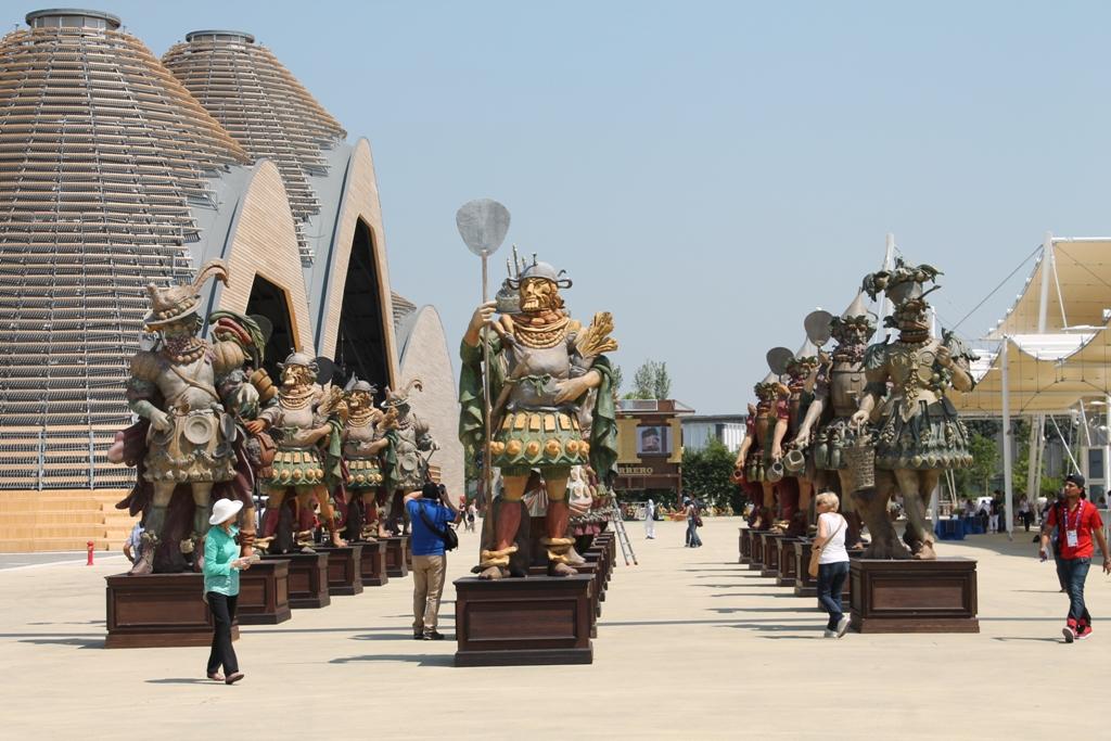 Food statues at Expo 2015 entrance, Milan, Italy, World Fair 2015