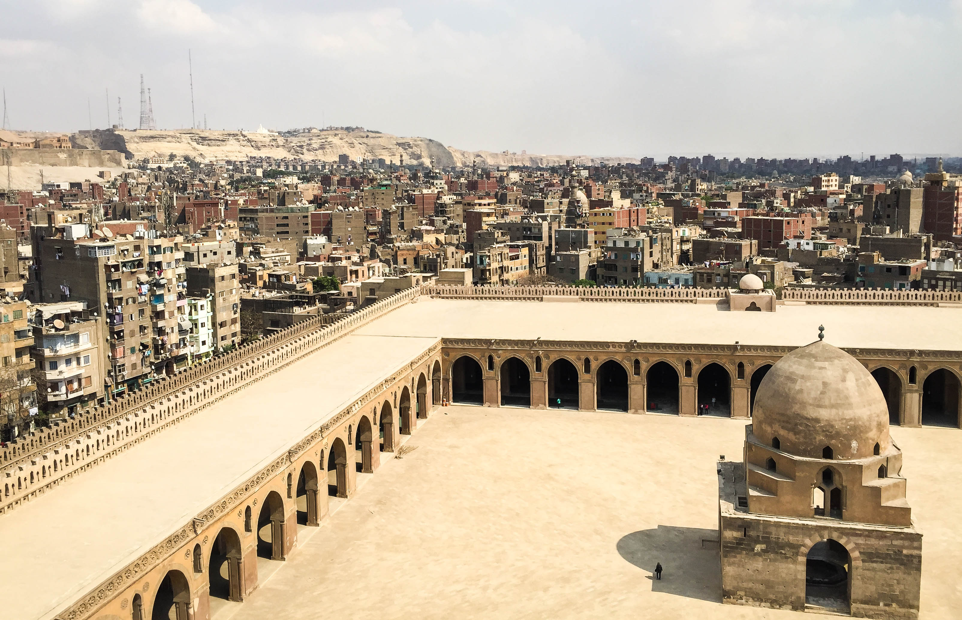 View of city density from Mosque of Ibn Tulun, Cairo, Egypt