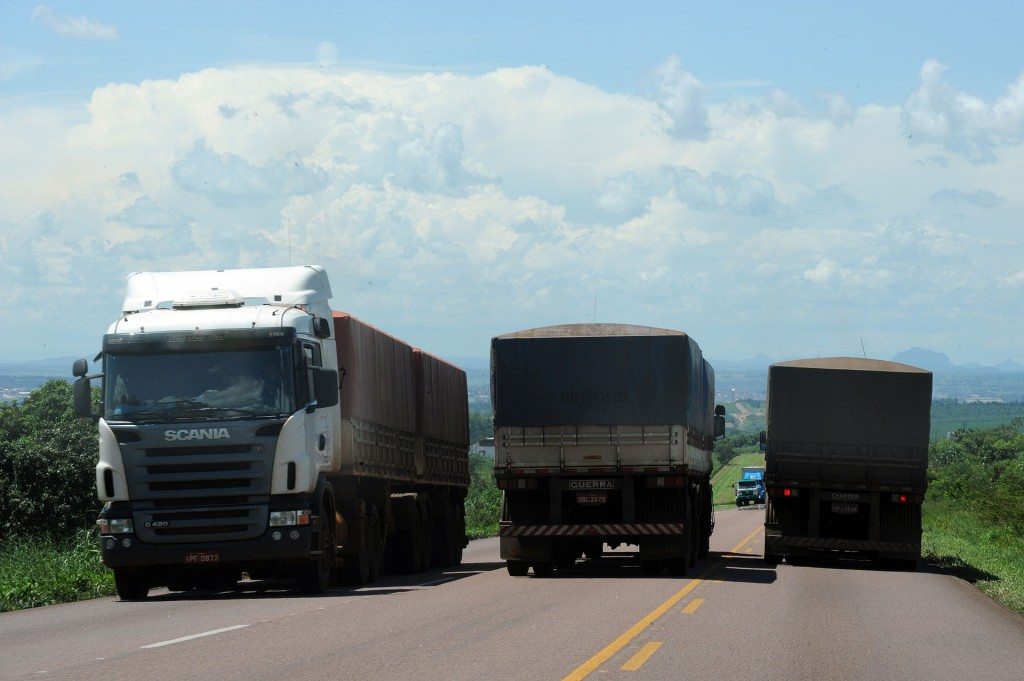 Trucks transporting soybean crop in Mato Grosso, Brazil