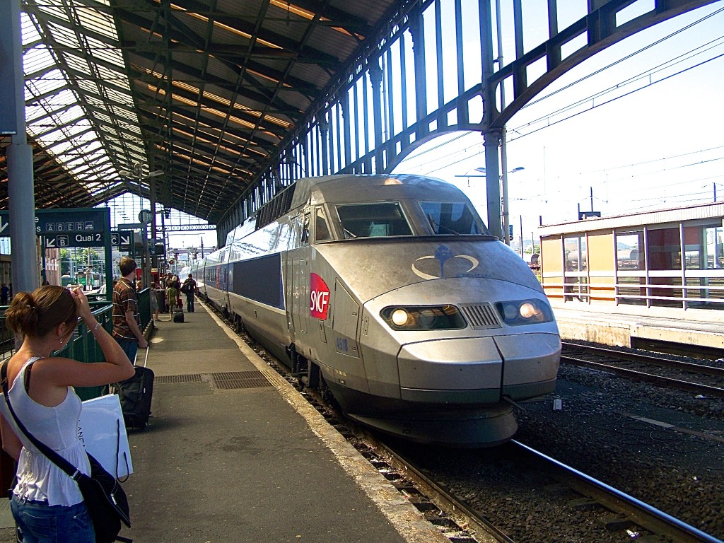 Waiting for TGV train at Narbonne, France Train Station
