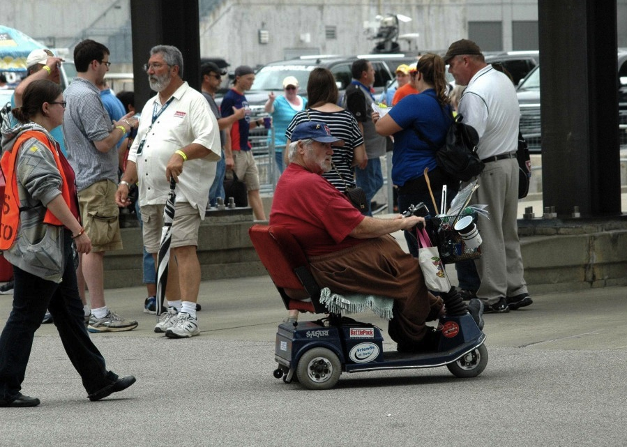 Man using a mobility scooter in Indianapolis, Indiana