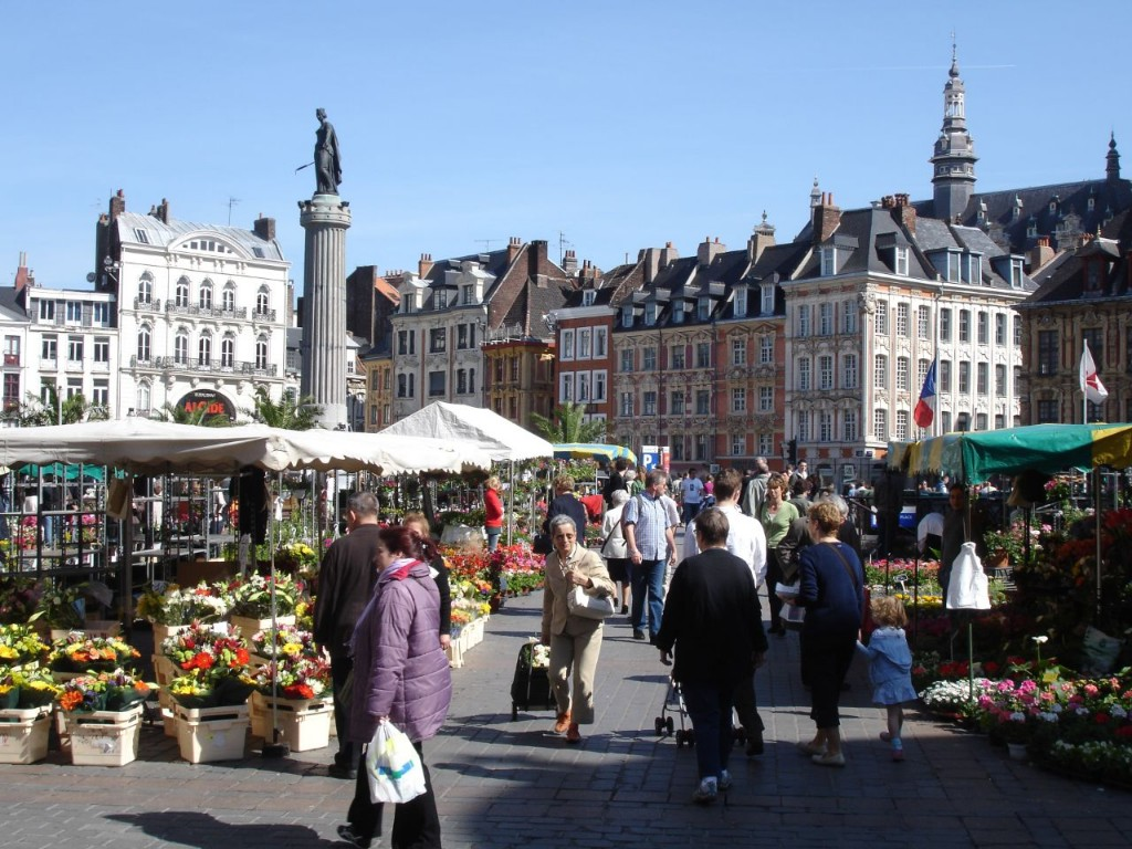 Flower market on the Place du General de Gaulle, Lille, France