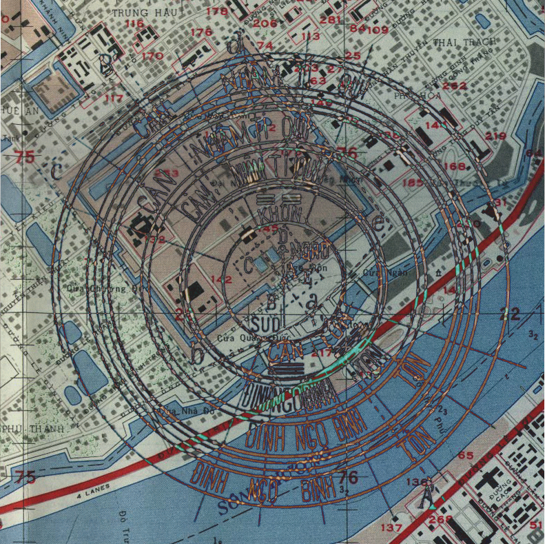 Geomancer's plan superimposed on ordnance survey of Hue from late 60s. Hue, Vietnam
