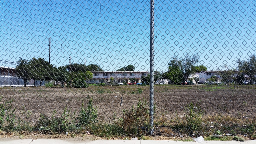 Empty lot adjacent to the Jordan Downs Housing Project, Watts, California, Los Angeles