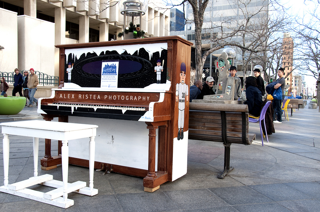 Piano provided for public use outdoors