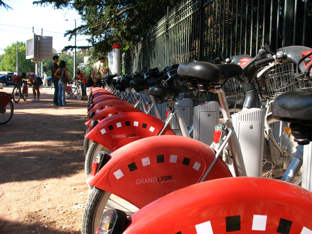 Velo'v Station near Parc de la Tête d'Or, Lyon, France