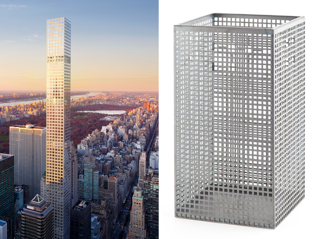 432 Park Avenue, New York, NY. The building shares distinct similarities with the trash can in terms of the grid pattern it makes with its windows and its long, thin shape.