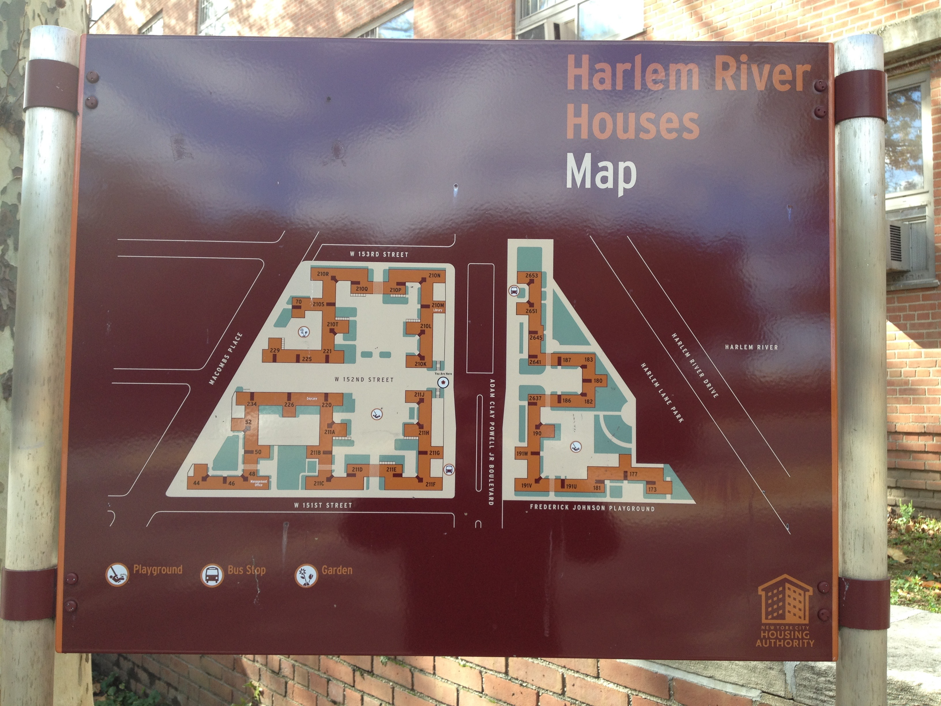 A map of the Harlem River Houses. The white space is public space for the residents. From the map, it is clear that the Harlem River Houses is mostly public space, with the housing units lining the perimeter of the lot.