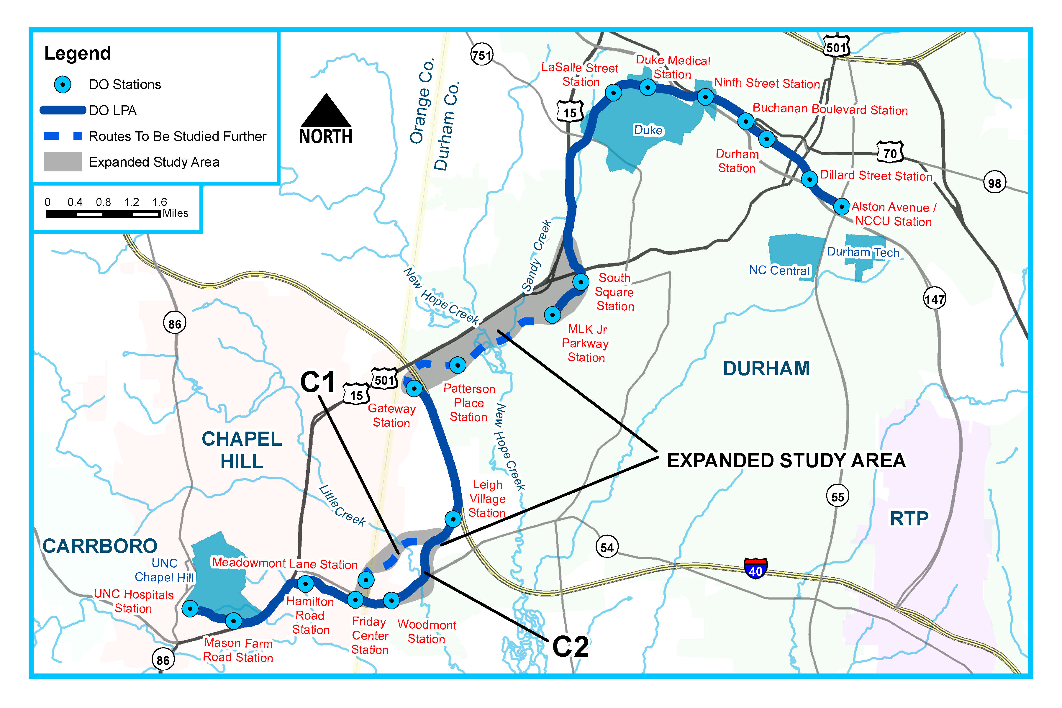 Map of proposed Durham-Orange Light Rail Transit Corridor, North Carolina, United States