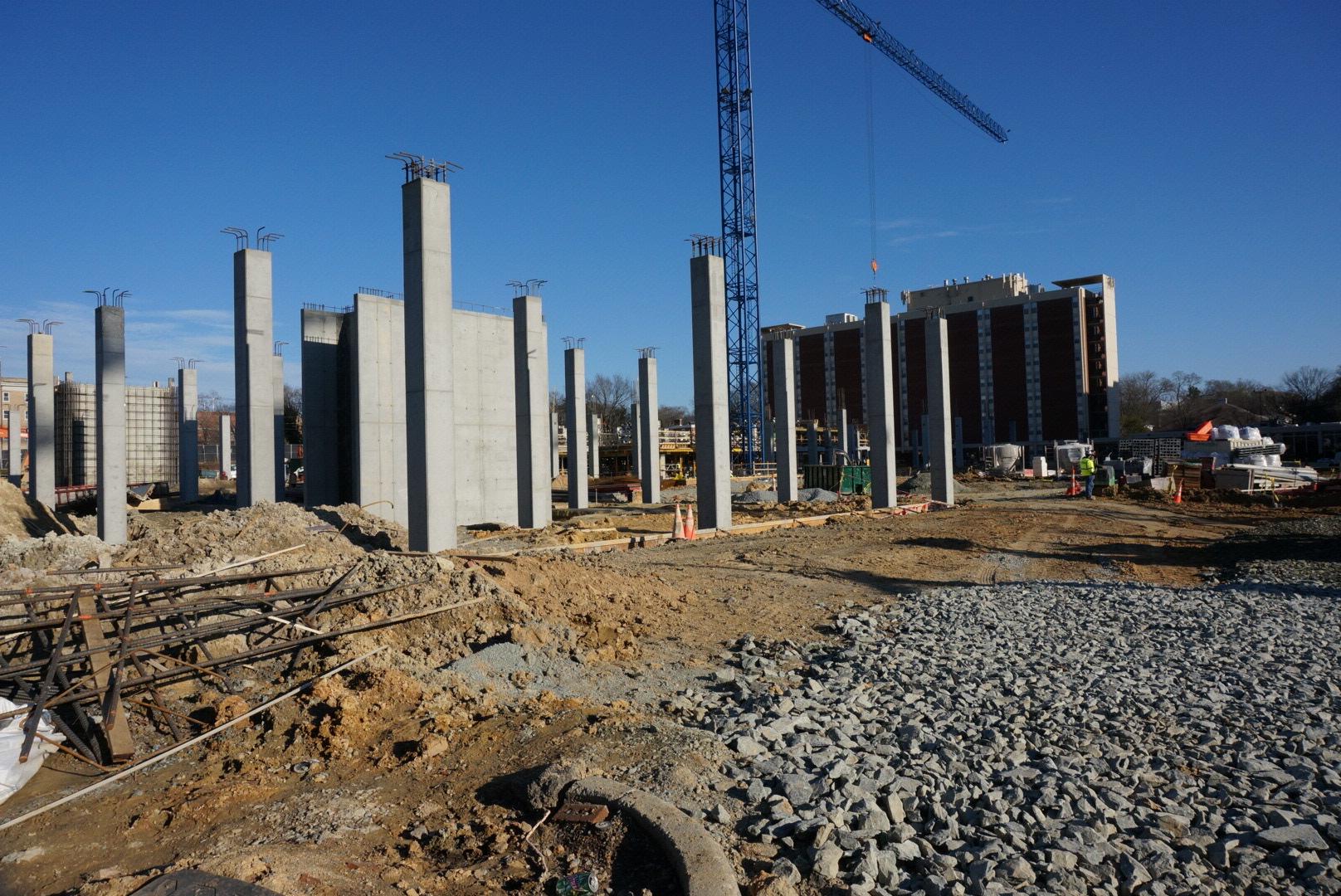 Construction of Carolina Square mixed-use development, Franklin Street, Chapel Hill, North Carolina