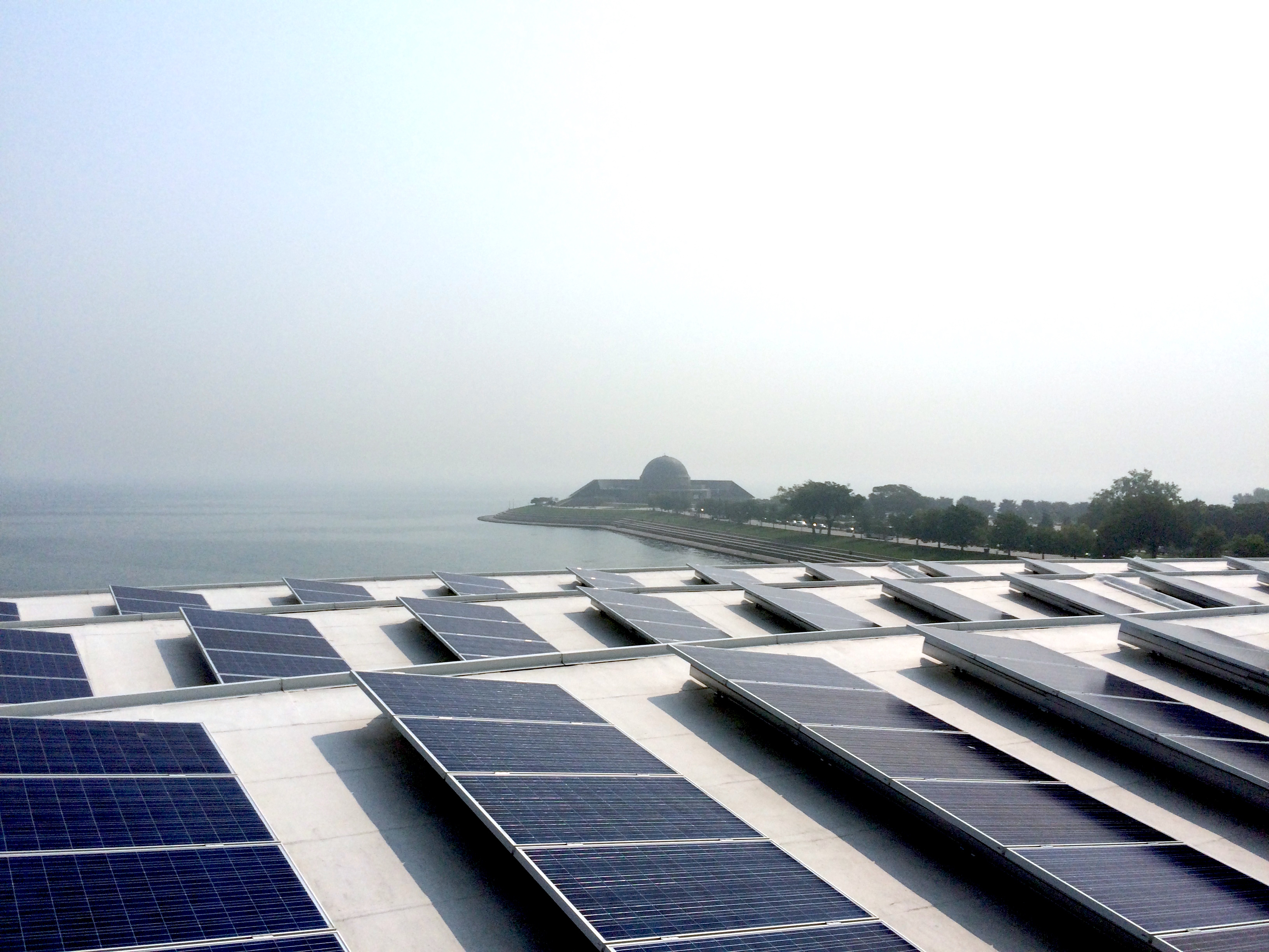 Solar panels on the roof of Shedd Aquarium, Chicago, Illinois
